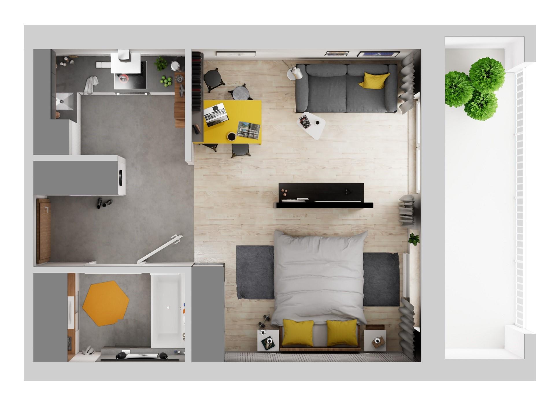 Rzut mieszkania w kompleksie SkyRes w Rzeszowie